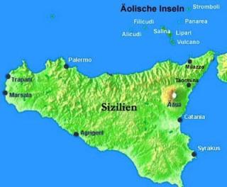 Liparische Inseln Landkarte