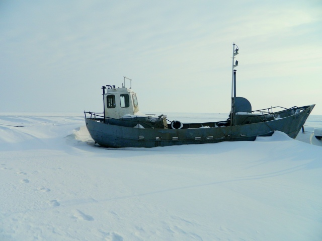 ship in frozen water