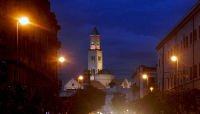 tower San Sabino cathedral night