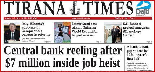 Tirana Times bank heist