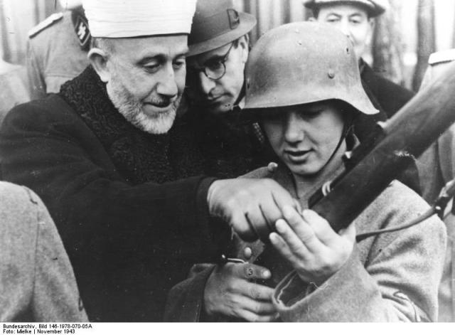 Amin al Husseini instructing Bosnian Waffen-SS volunteers