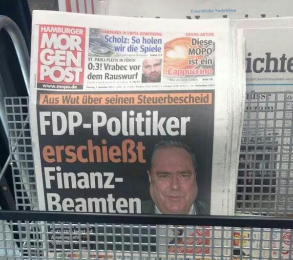 FDP-Politiker erschiesst Finanzbeamten