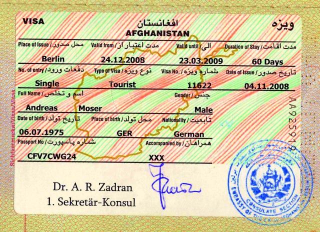Afghanistan tourist visa