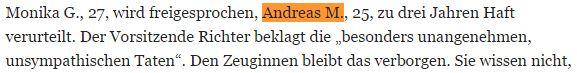 Andreas M Straftaten