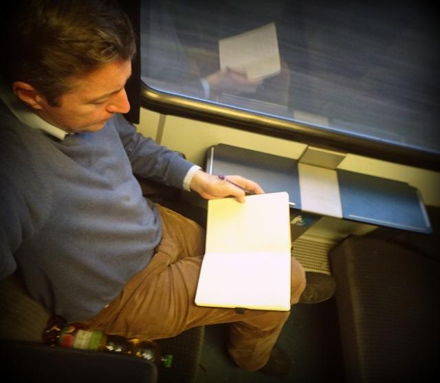 Andreas Moser im Zug nach Prag