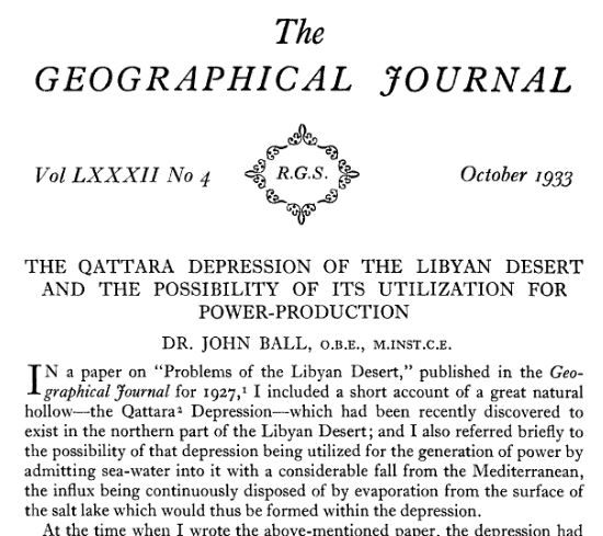 Qattara depression John Ball