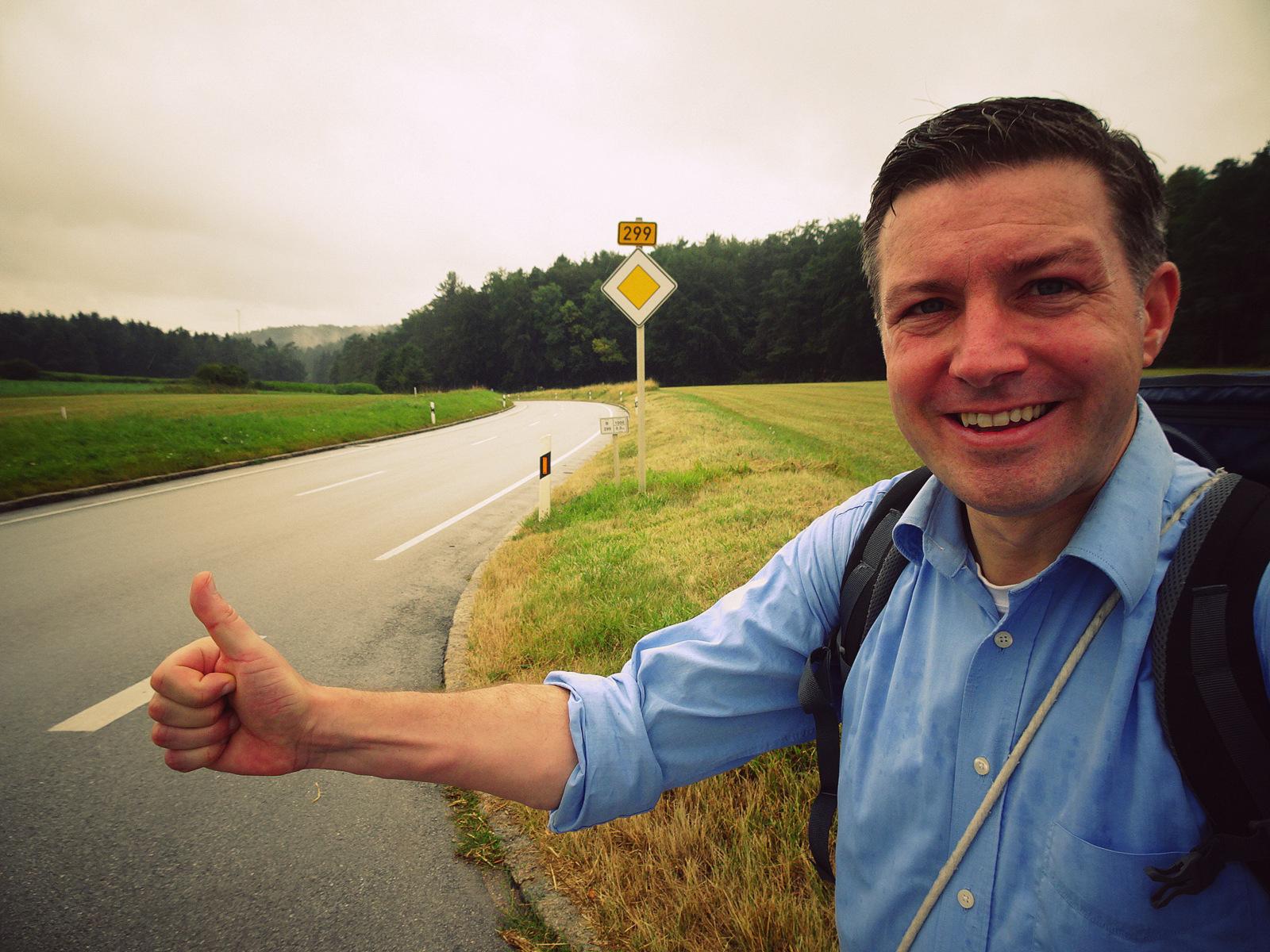 Andreas Moser hitchhiking B299