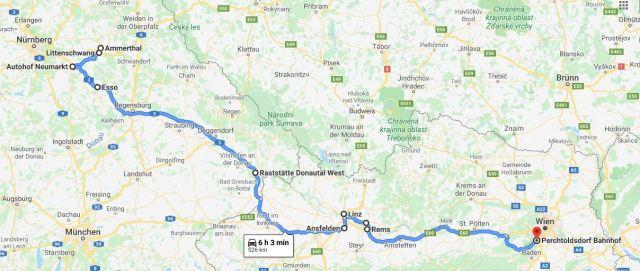Karte Trampen Ammerthal-Wien